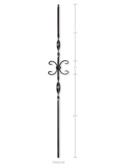 FI5523-44 One Butterfly Two Ribbons Iron Baluster