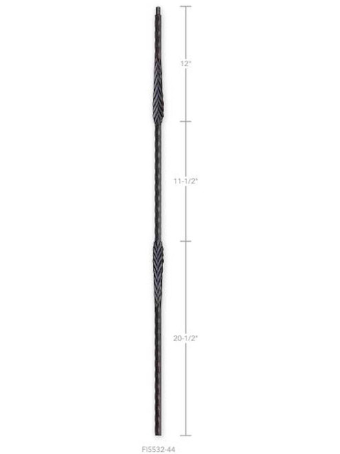 FI5532-44 Hammered Two Arrows Iron Baluster