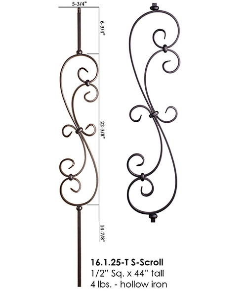 HF16.1.25-T S-Scroll Tubular Steel Baluster