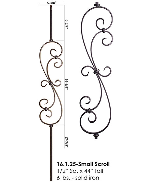 HF16.1.25-S Short S-Scroll Iron Baluster