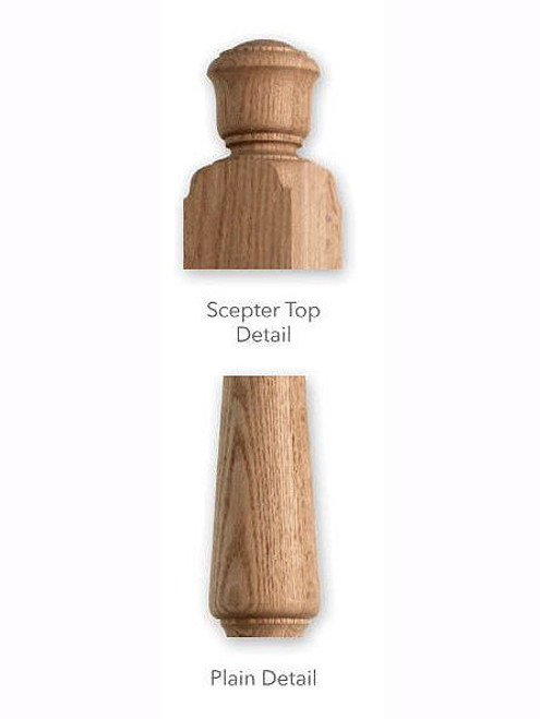 F4040 Plain Starting Red Oak Newel Post Details