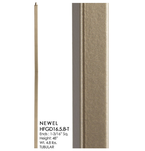 HF16.5.8-T Plain Tubular Steel Newel, Dorado Gold