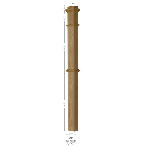 4375 Primed with Special Species Trim HALF Box Newel Post