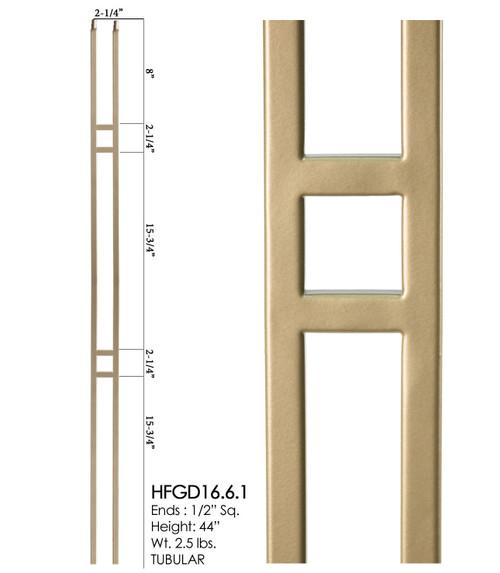HF16.6.3 Rectangle Tubular Steel Baluster, Dorado Gold