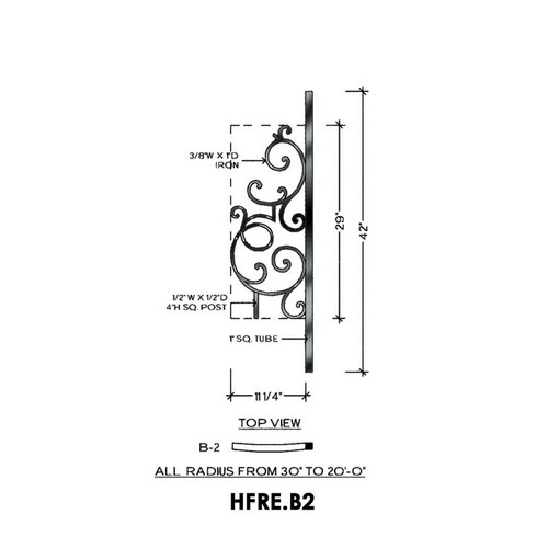 HFRE.B2 Regency Rake Iron Curved Panel