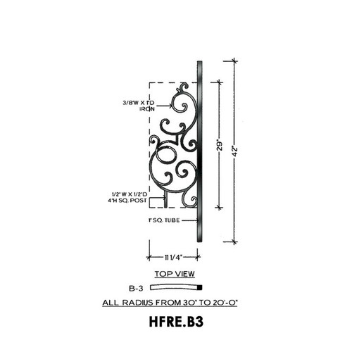 HFRE.B3 Regency Rake Iron Curved Panel