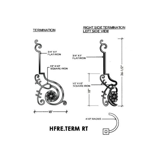 HFRE.TERM Termination Regency Newel Post, Right Hand