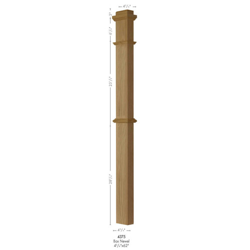 4375 White Oak, Maple, Cherry or Hickory Half Box Newel Post