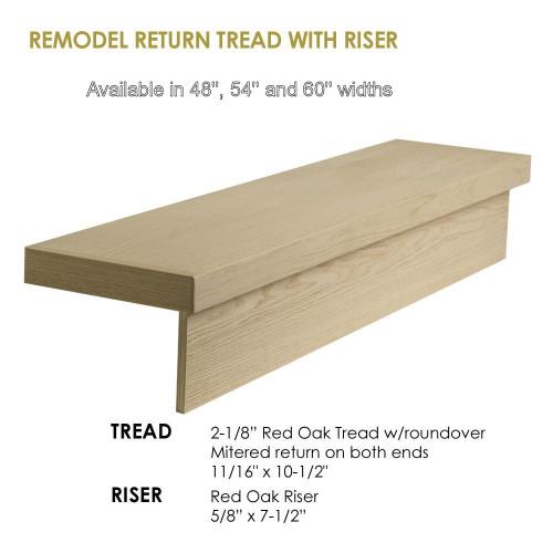 8070-Modern Retro Tread, Red Oak, With Returns