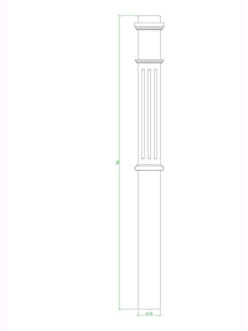F-4375 Box Newel Post, CADD Image