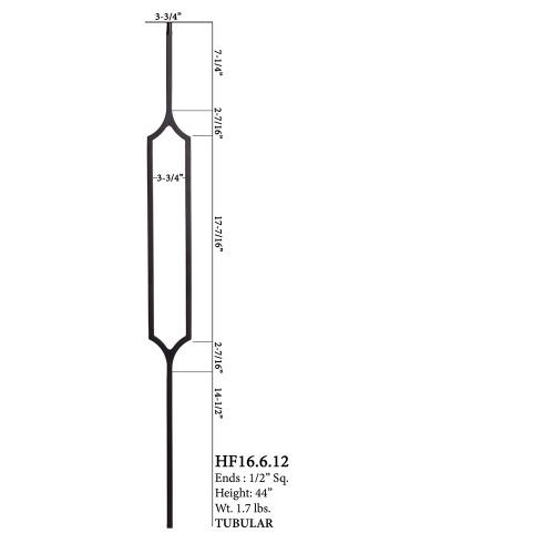 HF16.6.12 Crossed Hexagon Tubular Steel Baluster