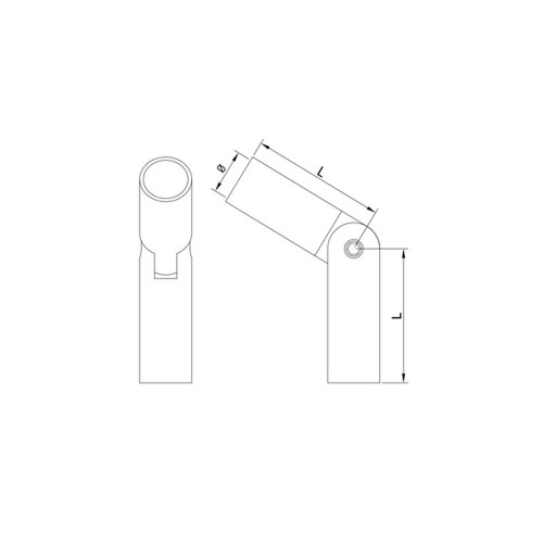 12 mm Round Bar Adjustable Round Bar Connector CADD Drawing