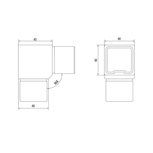 90 Degree Fitting for Square Rail – 40 x 40 x 2 mm (AX20.008.110.A.SP) Cadd