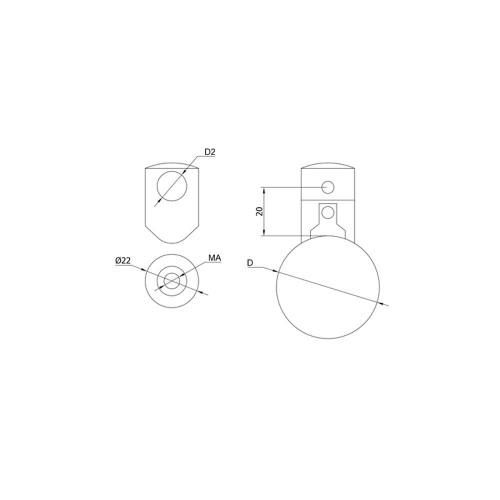 12 mm Round Bar Infill Holder – Fits 42.4 mm newel (AX10.010.200.A.SP) CADD