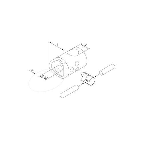 12 mm Round Bar Infill Holder – Connector – Fits 42.4 mm newel (AX10.010.206.A.SP) CADD