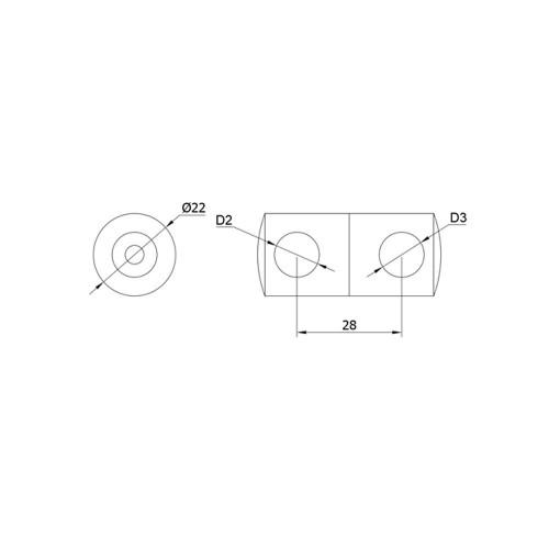 12 mm Round Bar Cross Holder CADD
