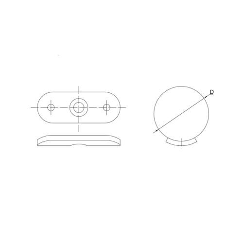 180 Degree Saddle for Handrail Bracket for 42.4 mm round tube rail CADD
