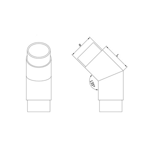 45 Degree Elbow for 42.4 mm Round Handrail, CADD