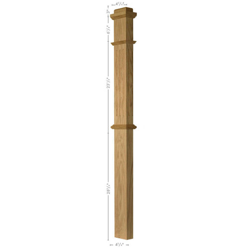 FP-4375 Soft Maple or Beech Flat Panel Half Box Newel Post (Fluted Illustrated)