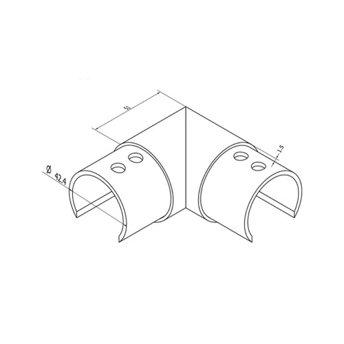 Round Glass Cap Rail Horizontal 90 Fitting (CADD)