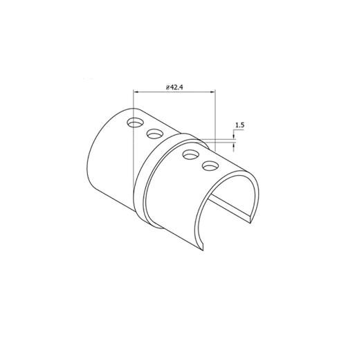 Round Glass Cap Rail Inline Splice Coupler (CADD)