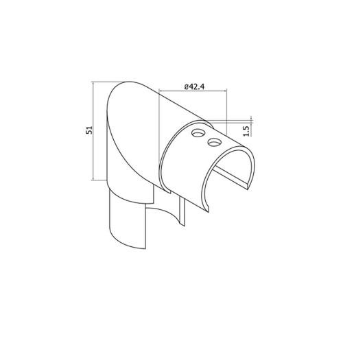 Round Glass Cap Rail Vertical 90 Fitting (CADD)