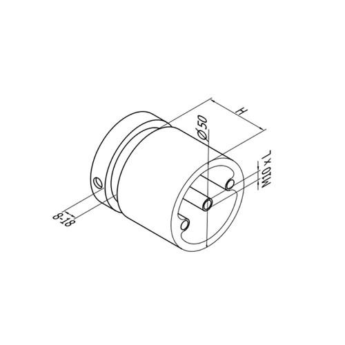 Round Glass Standoff – Fits 8 to 18 mm glass (CADD)