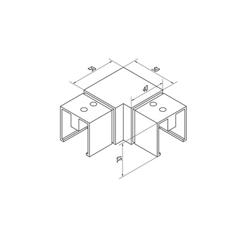 Square Glass Cap Rail 90 Degree Fitting (CADD)