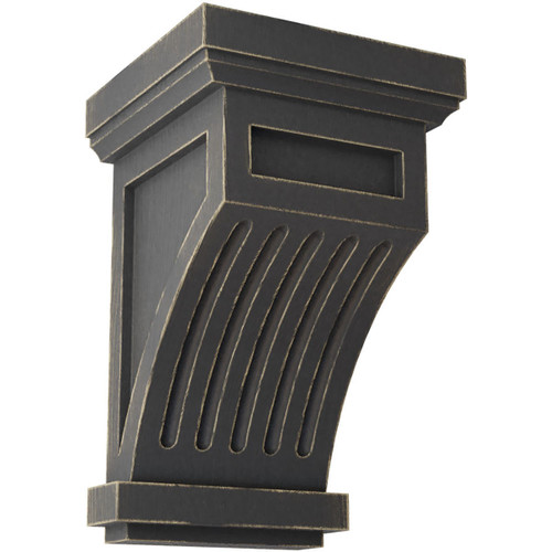 CORWD04X04X07FL Fluted Wood Vintage Corbel, Vintage Black Shown