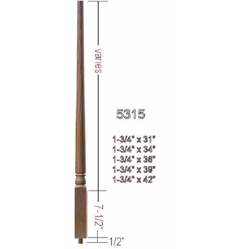 "5315 36"" Colonial Pin Top Baluster"