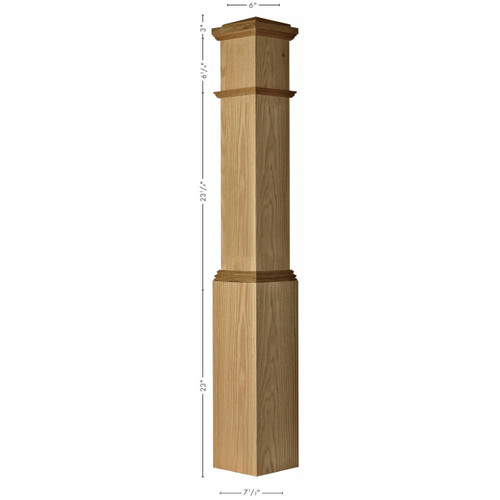 4092 Primed Box Newel Post Dimensional Information
