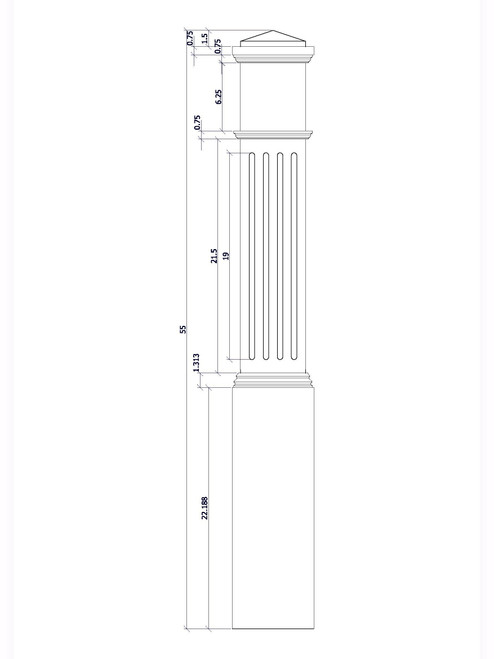 F-4092 Box Newel Post, CADD Image