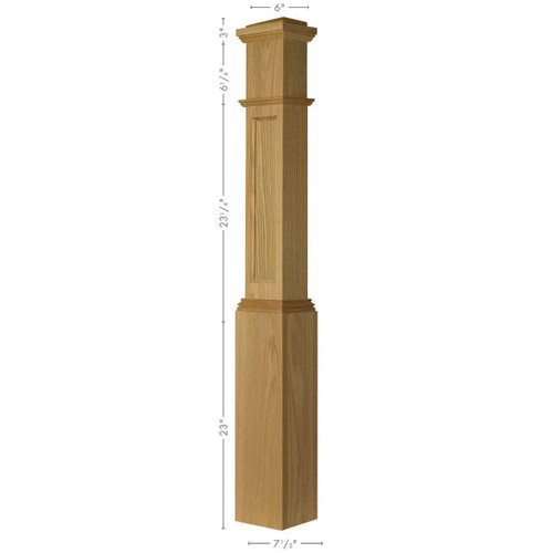 AFP-4092 Red Oak Actual Flat Panel Large Half Box Newel Post