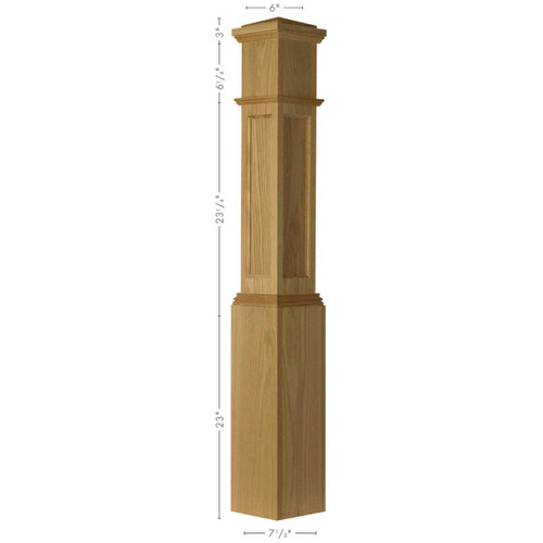 AFP-4092 Red Oak Actual Flat Panel Large Box Newel Post