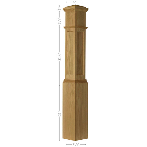 AFP-4092 Poplar Actual Flat Panel Large Box Newel Post
