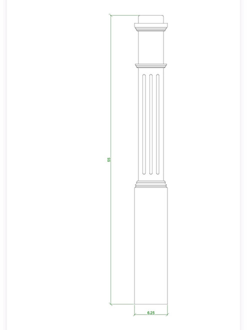 F-4091 Box Newel Post, CADD Image
