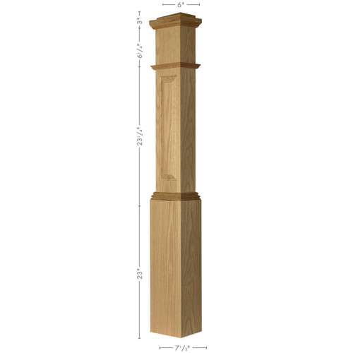 ARP-4092 Red Oak Actual Raised Panel Large HALF Box Newel Post