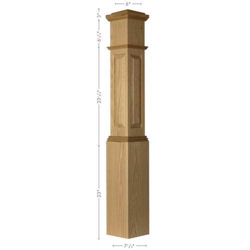 ARP-4092 Red Oak Actual Raised Panel Large Box Newel Post