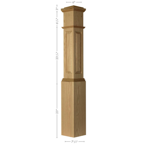 ARP-4092 Poplar Actual Raised Panel Large Box Newel Post