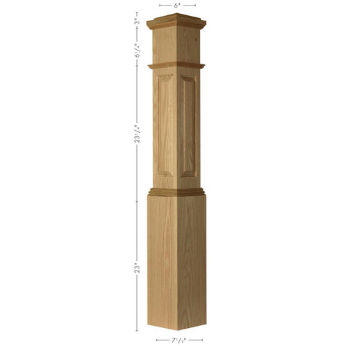 ARP-4092 Brazilian Cherry, Mahogany or Walnut Large Actual Raised Panel Large Box Newel Post
