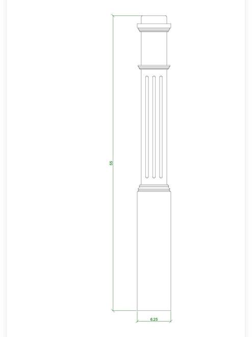 F-4091 Box Newel Post, CADD Image