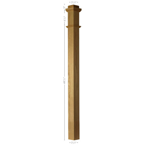 F-4075S Fluted Solid Soft Maple or Ash Plain Box Newel Post