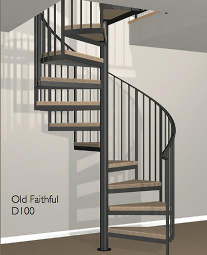 D100 Crown Heritage Metal Spiral Staircase
