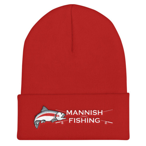 Mannish Fishing, Crossed Rods, Cuffed Beanie