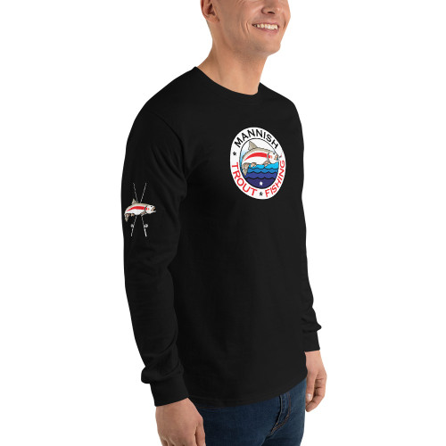 Mannish Trout Fishing, Crossed Rods, Long Sleeve T-Shirt
