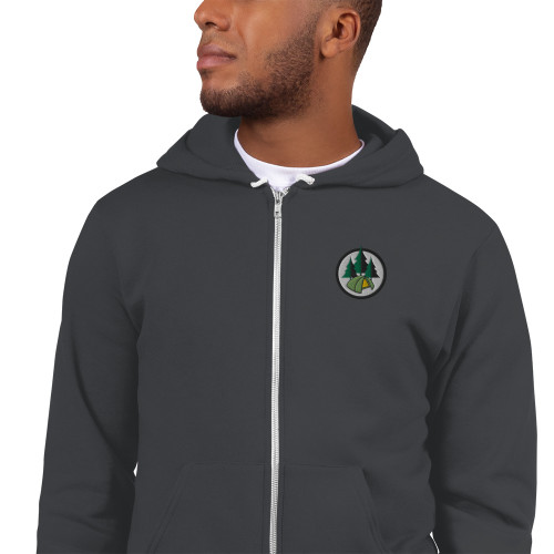 Camping, Embroidered, Zip Hoodie