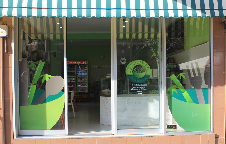 Banh Mi Co Clear Standard Print with White Laminate, Installed inside