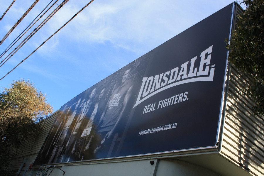 Lonsdale Premium Semi-Gloss Banner with Kedar Roping and Custom Made Frame