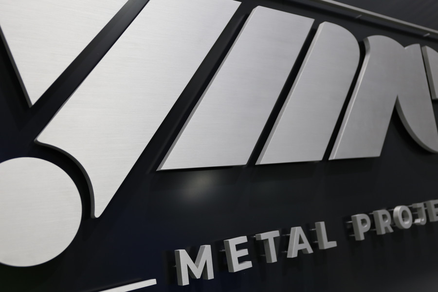 Stainless Steel 3D Logo on Black Board