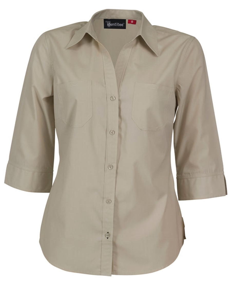 Ladies Harley 3/4 Sleeves Business Shirt (Sand)